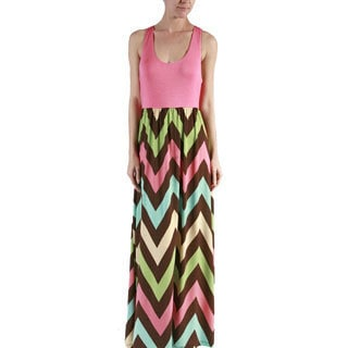 MOA Collection Women's Multicolored Polyester, Spandex Chevron Racer Back Maxi Dress