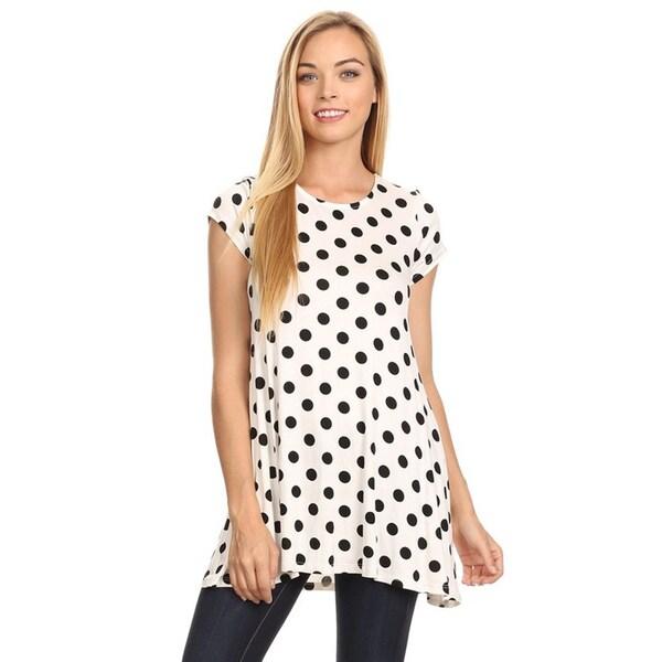 MOA Collection Women's Black/White Rayon/Spandex Polka Dot Shirt