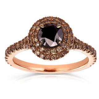 Annello 18k Rose Gold 1 1/2ct TDW Round Black and Champagne Diamond Double Halo Ring