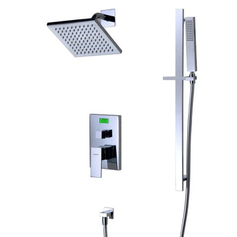 Sumerain Digital Temperature Display Brass and Stainless Steel Thermal LCD Back-light Tub/Shower Faucet