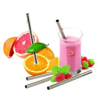 Reusable Wide Stainless Steel Smoothie Straws with Cleaning Brush (Pack of 5)