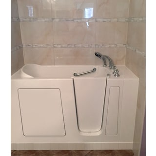 Value Life White Acrylic Stainless Steel 55-inch Right Whirlpool Jetted With Inline Heater Walk-In Tub