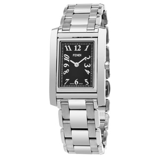 Fendi Women's F775310 'Loop Rectangle' Black Dial Stainless Steel Swiss Quartz Small Watch