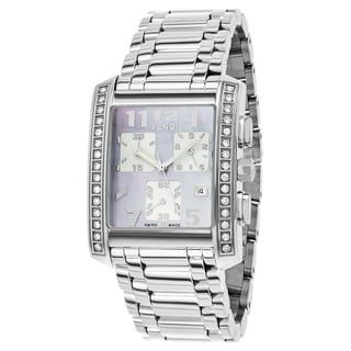 Fendi Women's F755140DC 'Classico' Mother of Pearl Dial Stainless Steel Chronograph Swiss Quartz Watch