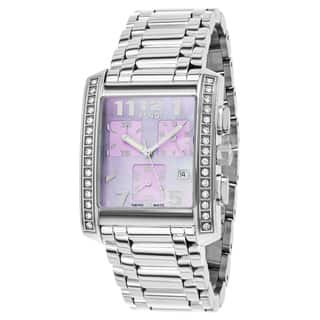 Fendi Women's F755130BMDC 'Classico' Lavender Dial Stainless Steel Chronograph Swiss Quartz Watch|https://ak1.ostkcdn.com/images/products/12094004/P18957775.jpg?impolicy=medium