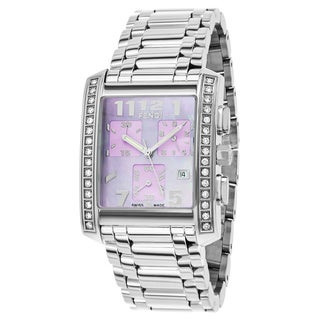 Fendi Women's F755130BMDC 'Classico' Lavender Dial Stainless Steel Chronograph Swiss Quartz Watch