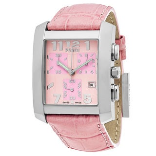 Fendi Women's F751177 'Classico' Pink Dial Pink Leather Strap Chronograph Swiss Quartz Watch