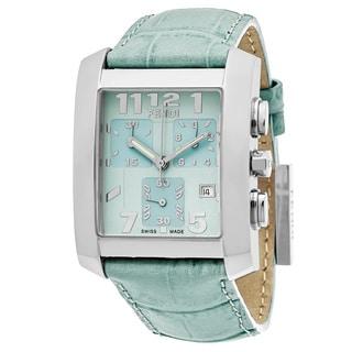 Fendi Women's F751133 'Classico' Mint Green Dial Mint Green Leather Strap Chronograph Swiss Quartz Watch
