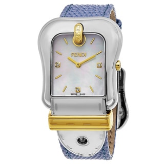 Fendi Women's F382114531D1 'B. Fendi' Mother of Pearl Dial Blue Leather Strap Swiss Quartz Watch