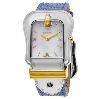 Fendi Women's F382114531D1 'B. Fendi' Mother of Pearl Dial Blue Leather Strap Swiss Quartz Watch
