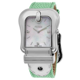 Fendi Women's F382014581D1 'B. Fendi' Mother of Pearl Dial Green Leather Strap Swiss Quartz