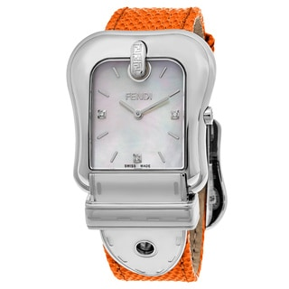 Fendi Women's F382014591D1 'B. Fendi' Mother of Pearl Dial Orange Leather Strap Swiss Quartz Watch