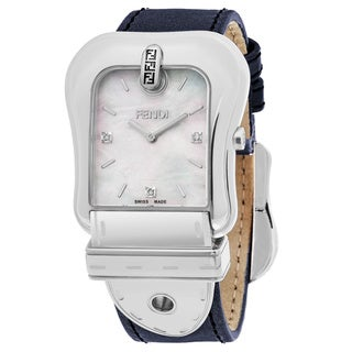 Fendi Women's F380014531D1 'B. Fendi' Mother of Pearl Dial Blue Leather Strap Swiss Quartz Watch