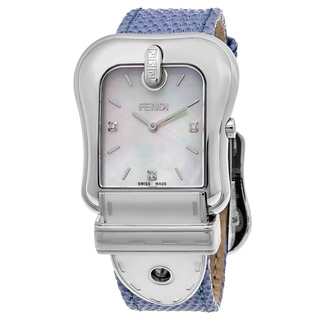Fendi Women's F382014531D1 'B. Fendi' Mother of Pearl Dial Blue Leather Strap Swiss Quartz Watch