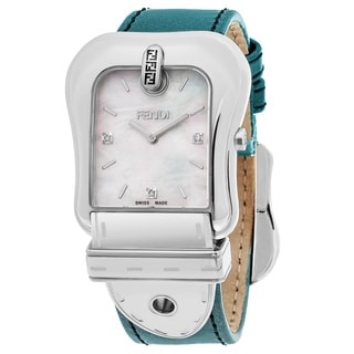 Fendi Women's F380014581D1 'B. Fendi' Mother of Pearl Dial Light Blue Leather Strap Swiss Quartz Watch