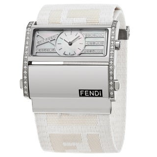 Fendi Women's F115144DDC 'Zip Code' Mother of Pearl Diamond Dial White Nylon Strap Swiss Quartz Watch