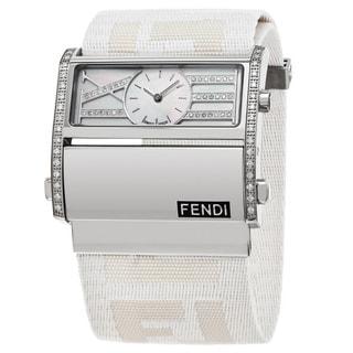 Fendi Women's F115144DDC 'Zip Code' Mother of Pearl Diamond Dial White Nylon Strap Swiss Quartz Watch