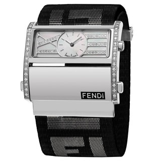 Fendi Women's F115141BDDC 'Zip Code' Mother of Pearl Dial Black Nylon Strap Swiss Quartz Watch