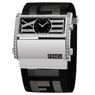Fendi Women's F115111BDDC 'Zip Code' Black Dial Black Nylon Strap Swiss Quartz Watch