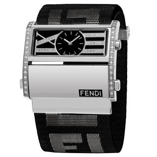 Fendi Women's F115111BDDC 'Zip Code' Black Dial Black Nylon Strap Swiss Quartz Watch
