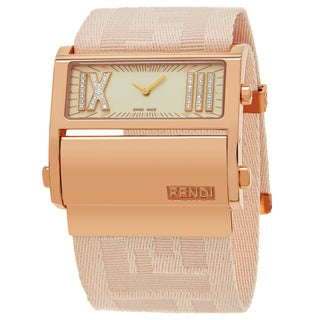 Fendi Women's F114147BD 'Zip Code' Cream Diamond Dial Peach Nylon Strap Swiss Quartz Watch