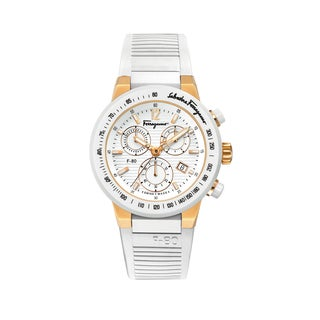 Ferragamo Womens F-80 White Rubber Strap Watch