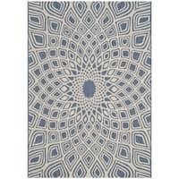 Safavieh Courtyard Optic Blue/ Beige Indoor/ Outdoor Rug - 2' 7 x 5'