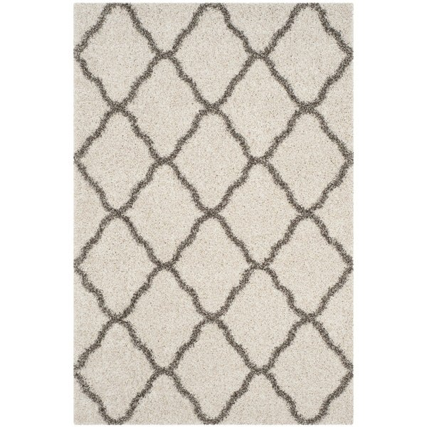 Safavieh Hudson Shag Moroccan Trellis Ivory/ Grey Rug - 4' x 6'