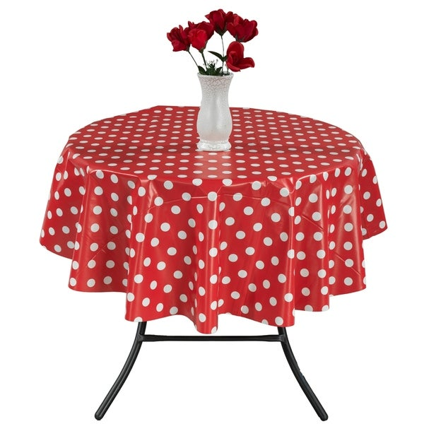 Berrnour Home 55 Round Indoor Outdoor Red Polka Dots Tablecloth