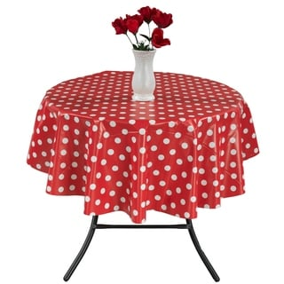 Berrnour Home Vinyl Red Polka Design 55-inch Round Indoor/Outdoor Tablecloth with Nonwoven Backing