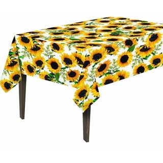 Berrnour Home Vinyl Sunflower Design 55-inch x 70-inch Indoor/Outdoor Tablecloth with Nonwoven Backing