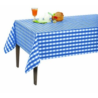 Berrnour Home Blue Checkered Vinyl 55-inch x 70-inch Indoor/Outdoor Tablecloth With Non-woven Backing