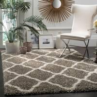 Safavieh Hudson Shag Moroccan Trellis Grey/ Ivory Rug (5' 1 x 7' 6)