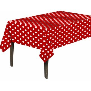 Berrnour Home Red, White Polyester 55-inch x 86-inch Polka-dot Design Indoor and Outdoor Tablecloth with Non-woven Backing