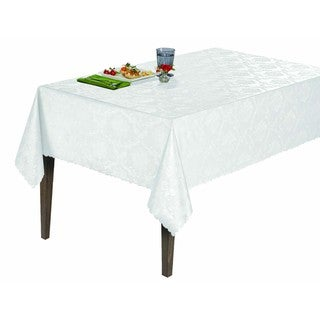 Berrnour Home Vinyl Damask Design 55-inch x 86-inch Indoor/Outdoor Tablecloth with Non-woven Backing