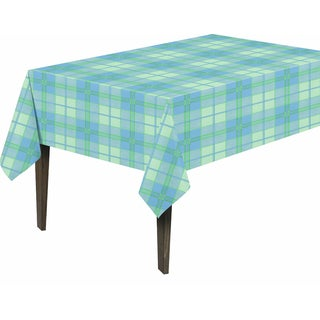 Berrnour Home Vinyl Plaid Design 55-inch x 102-inch Indoor/Outdoor Tablecloth With Nonwoven Backing