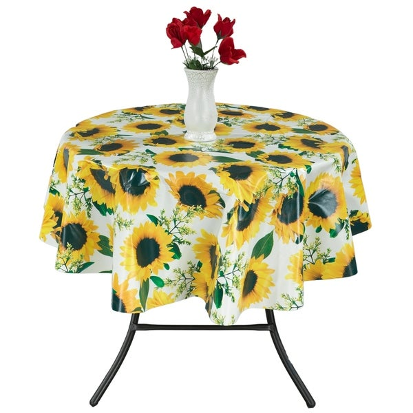 Berrnour Home Indoor/Outdoor Sunflower Design Vinyl 55-inch Round Non-woven Backing Tablecloth