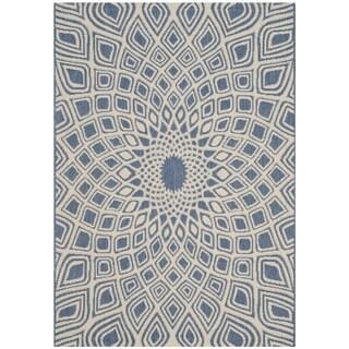 Safavieh Courtyard Optic Blue/ Beige Indoor/ Outdoor Rug (2' x 3' 7)