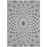 Safavieh Courtyard Optic Blue/ Beige Indoor/ Outdoor Rug - 2' x 3'7