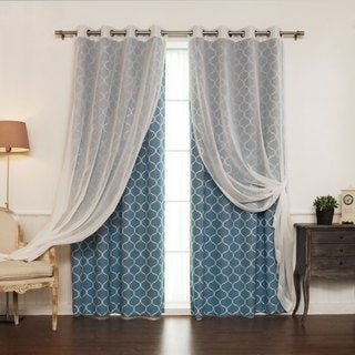 Aurora Home MIX & MATCH CURTAINS Quatrefoil Print and Muji Sheer 84-inch Silver Grommet 4-piece Curtain Panel Pair