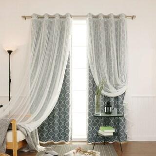 "Aurora Home Mix & Match Quatrefoil Room Darkening and Lace Sheer 4 Piece Curtain Panel Set - 52""W x 84""L"