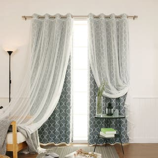 Aurora Home MIX MATCH CURTAINS Quatrefoil Print And Tulle Lace Sheer 84 Inch Room