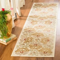 Martha Stewart by Safavieh Floating Dahlia Light Brown Viscose Rug - 2' x 8'