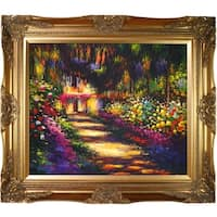 Claude Monet 'Pathway in Monet's Garden at Giverny' Hand Painted Framed Canvas Art