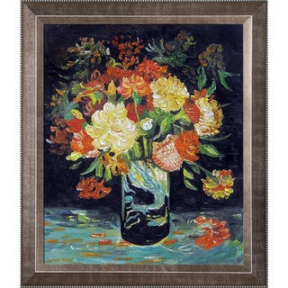 Vincent Van Gogh 'Vase with Carnations, 1886' Hand Painted Framed Canvas Art
