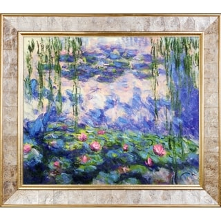 Claude Monet 'Water Lilies' Hand Painted Framed Canvas Art