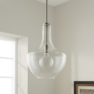 Kichler Lighting Everly Collection 1-light Brushed Nickel and Seeded Glass Pendant