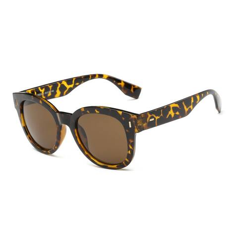 Unisex Turtoise-framed Acetate 50-millimeter Round Sunglasses with Tawny Lens