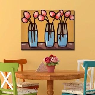 Ready2HangArt 'III Bouquets' by Norman Wyatt Jr. Wrapped Canvas Art - Orange