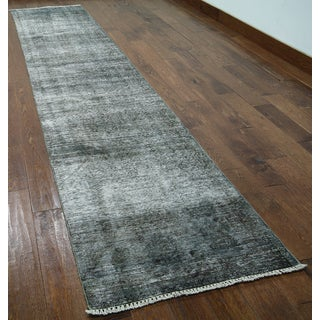Grey Wool Hand-knotted Oriental Overdyed Runner Rug (2' 6 x 12' 1)